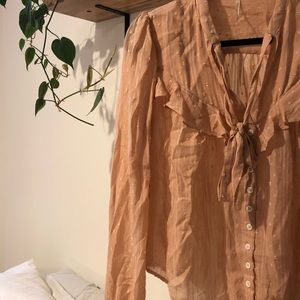 {free people} tie neck peach blouse